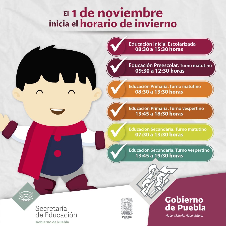 Horario de Invierno iniciará el 1 de noviembre; aplicará a 12 mil escuelas