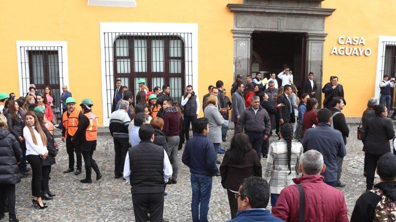 Encabeza el gobernador Miguel Barbosa macro simulacro nacional 2020 realizado en casa Aguayo